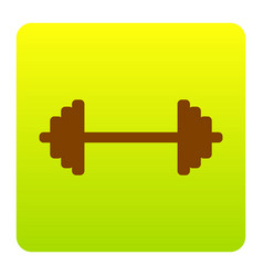 Dumbbell weights sign  brown icon at green vector