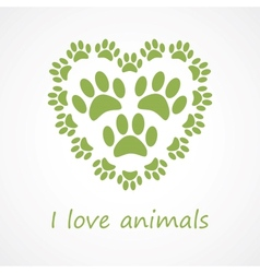 Animal foot print heart in eco style vector