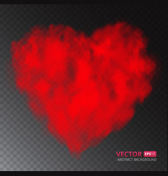 Red heart of fog or smoke isolated on transparent vector