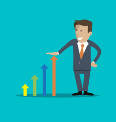 businessman and graph business growth vector image