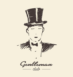 Gentleman club drawn label sketch vector