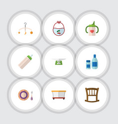 Flat icon child set of cream with lotion feeder vector