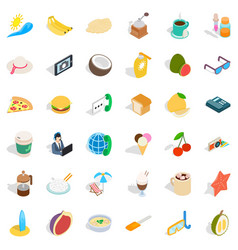 Good food icons set isometric style vector