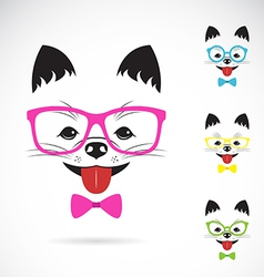 images of dog wearing glasses vector image