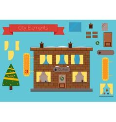 Set of building elements flat design Christmas tre vector image