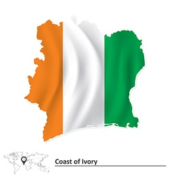 Map of coast of ivory with flag vector