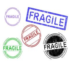 5 grunge stamps fragile vector