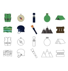 Set of flat adventure traveling icons camping vector