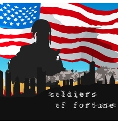 Armed soldiers in front of the American flag vector image