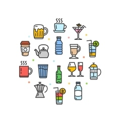 Drink round design template thin line icon vector
