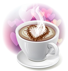 A cup of coffee with heart-shaped decoration vector