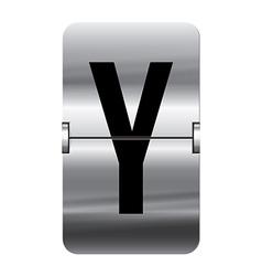 Alphabet silver flipboard letters y vector image