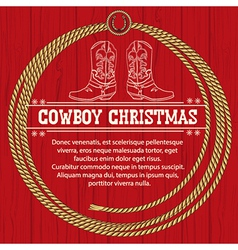 American Red Christmas background with cowboy vector image vector image