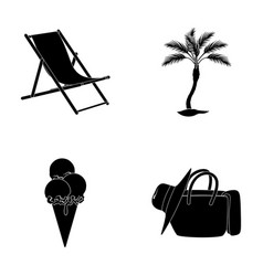 beach palm tree ice creamsummer vacation set vector image