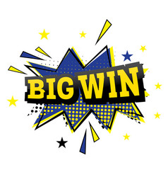 Big win comic text in pop art style vector