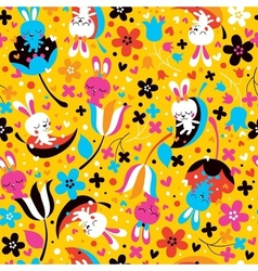 Bunnies flowers pattern vector