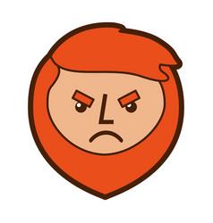 cartoon angry face man beard character vector image