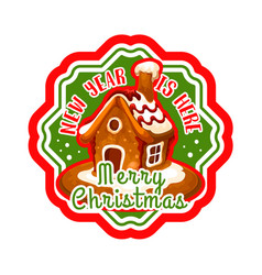 Christmas gingerbread cookie house label design vector