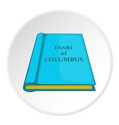 Columbus diary icon cartoon style vector