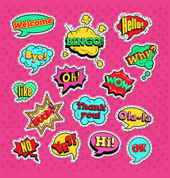 comic speech bubbles set for badges and patches vector image vector image