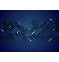 Dark blue tech abstract background with squares vector