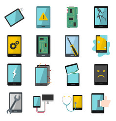Device repair symbols icons set in flat style vector