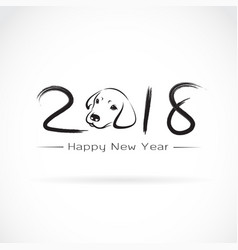 dog 2018 new year card year of vector image vector image