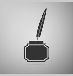Feather and inkwell flat icon on grey background vector