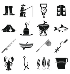 Fishing tools icons set simple style vector