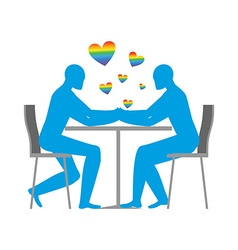 Gays in cafe rainbow heart - symbol of lgbt love vector