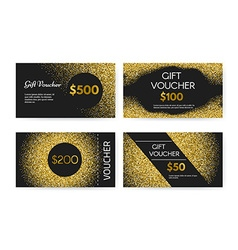 Golden gift voucher vector
