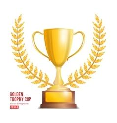 Golden Trophy Cup With Laurel Wreath Award Design vector image vector image