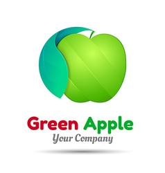 Green apple logo design template for your vector