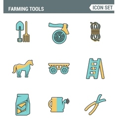 Icons line set premium quality of farming tools vector image vector image