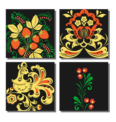 Khokhloma pattern cards design traditional vector