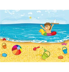 kid playing in water vector image vector image