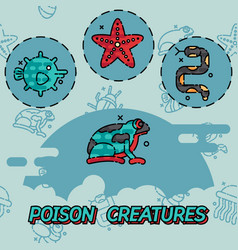 Poisonous creatures flat concept icons vector