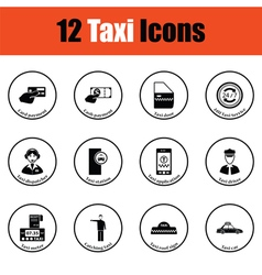 Set of twelve Taxi icons vector image vector image