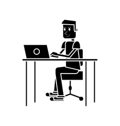 Silhouette guy laptop desk workplace vector