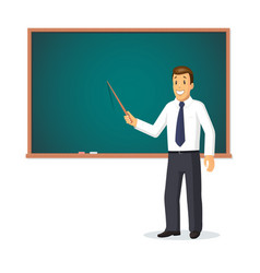 Smiling teacher with pointer vector