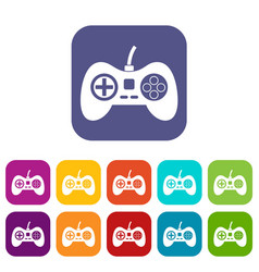 Video game console controller icons set flat vector