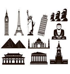 world landmarks silhouettes elements set vector image vector image