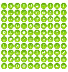 100 human health icons set green vector