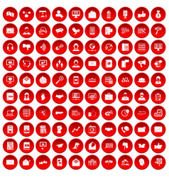 100 interaction icons set red vector