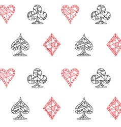 Hand drawn sketched playing cards symbol seamless vector