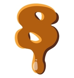 Number 8 from caramel icon vector