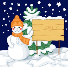 Snowman and billboard against the background of fi vector