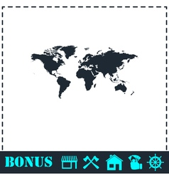 World map icon flat vector