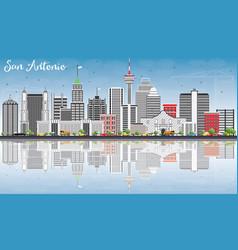 san antonio skyline with gray buildings blue sky vector image