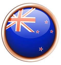 new zealand flag on round badge vector image
